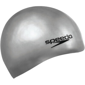 speedo Plain Moulded Bonnet de bain en silicone, chrome